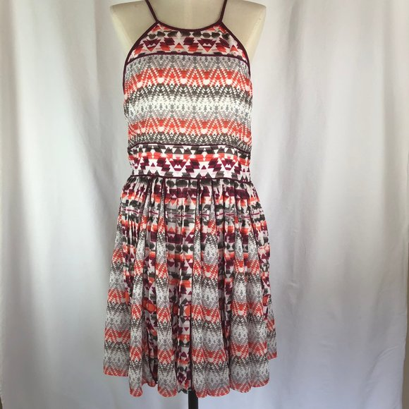Parker Aztec Print Pleated Dress